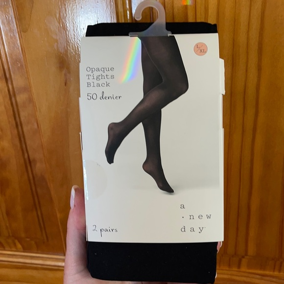 Tights black BNWT L/XL - 2 pairs included
